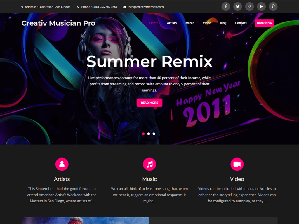 Most Popular Theme of 2020 – Creativ Musician Pro